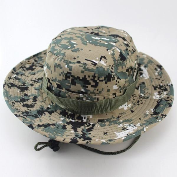 1cca0256dd9524 Outdoor Sports Fishing Hat Camouflage Bucket Hat Fisherman Camo Jungle Bush  Hats Boonie UV Protection Wide Brim Sun Caps Ripstop