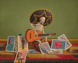 Mexican lottery cards and skeleton