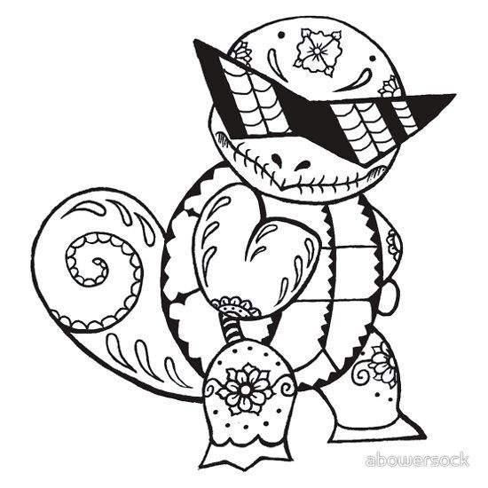 Squirtle De Los Muertos Pokemon Day Of The Dead Mashup Pokemon Coloring Pages Pokemon Coloring Coloring Pages