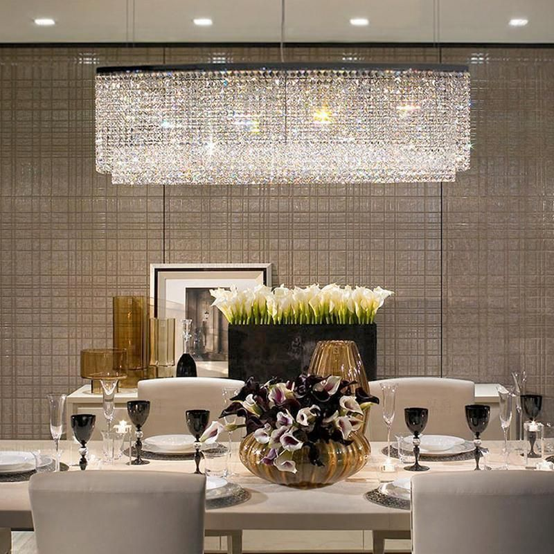 Rectangular Raindrop Crystal Pendant Light Crystal Chandelier Dining Room Dining Room Lighting Chandeliers Chandelier Lighting Fixtures