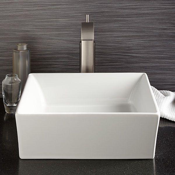 Great DXV Pop Square Vessel Bathroom Sink Room Scene  Canvas White