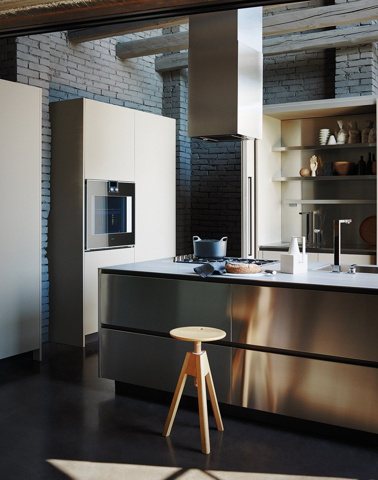 Stainless Steel And Fenix Fitted Kitchen With Island Maxima 2 2 Composition 2 Cesarkitchen Arredo Interni Cucina Progetti Di Cucine Cucine Bellissime
