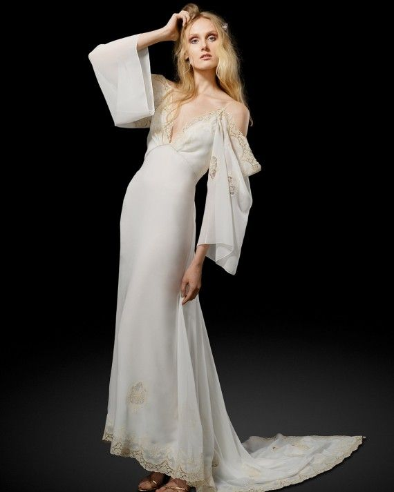 """""""Florence""""   '70s chanteuse-inspired silk georgette drop sleeve gown; deep V-neckline with French vintage embroidered trim."""
