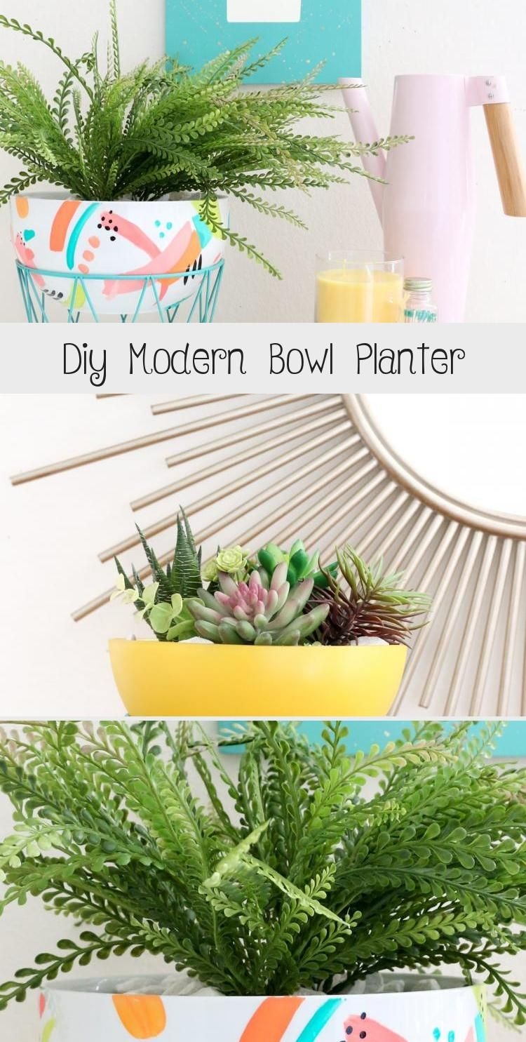 DIY Modern Bowl Planter | This DIY planter project is a cute way to upcycle things you probably own already! #upcycle #DIY #DIYdecor #homedecor #plantbaby #plants #gardening #containergardens #plantinspo #HomeDecorDIYGarden