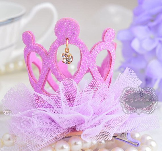 Lavender Purple Glitter Crown Tiara Tulle with Dangling Rhinestone Clip Birthday Crown 1st Birthday Clip Dog Clip #crowntiara