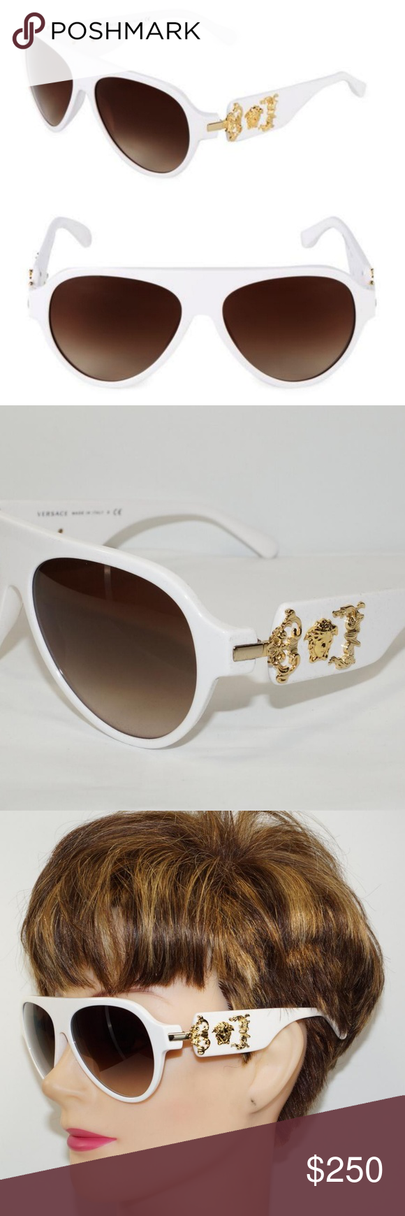 d9cf18ff3cda I just added this listing on Poshmark  VERSACE WHITE GOLD MEDUSA SUNGLASSES.   shopmycloset