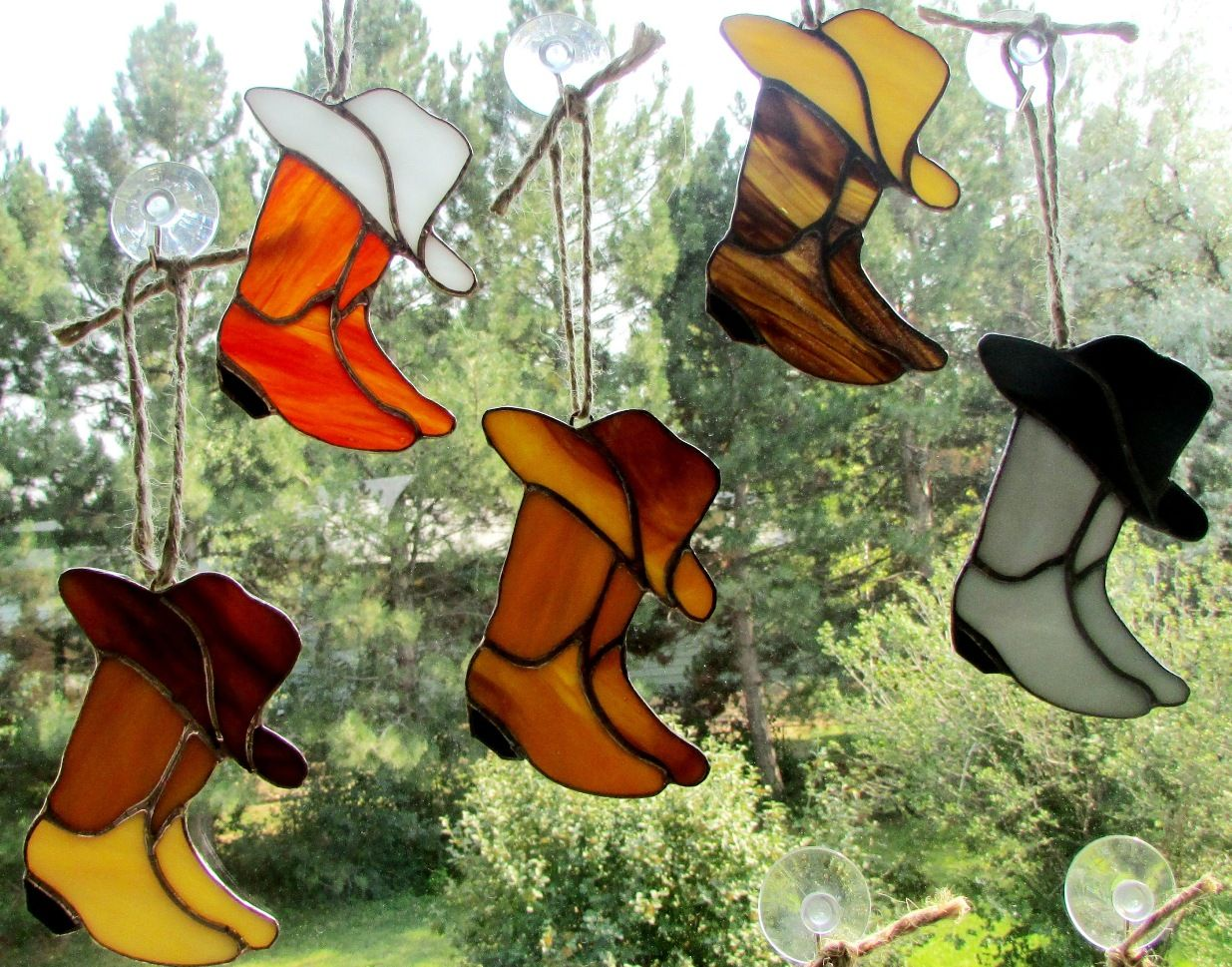 Cowboy Boots N Hats Perfect As A Suncatcher Ornament Or Simply Hanging From Your Rearv Stained Glass Suncatchers Stained Glass Panels Stained Glass Patterns