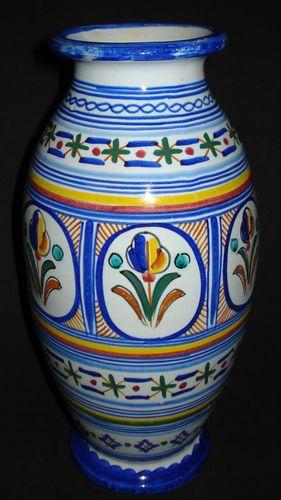 Antique Vtg Faience Majolica Vase French Italian Spanish Pottery