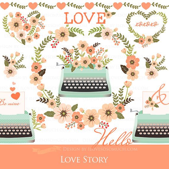 Heart  Clip Art Love CA114 Valentine Day Instant Download Flower Peach and Green Typewriter Love Letter Love Story
