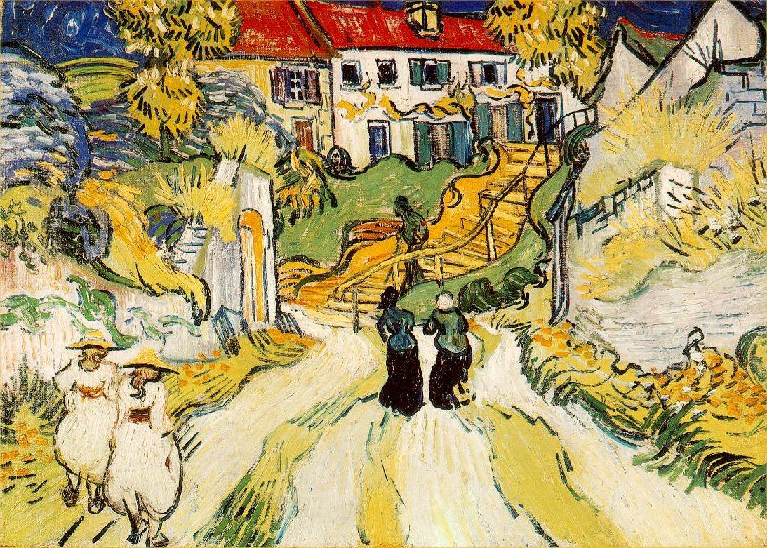 Village Street and Stairs with Figures,  1890 (270 Kb); Oil on canvas, 49.8 x 70.1 cm (20 x 28 in); The Saint Louis Art Museum, Missouri.