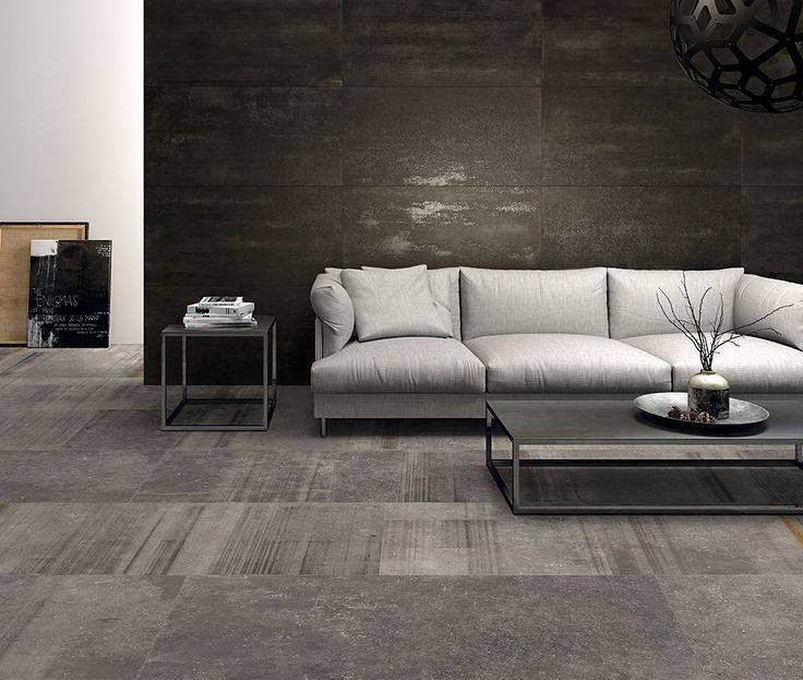 livingroom #design using two different types of #porcelaintile with