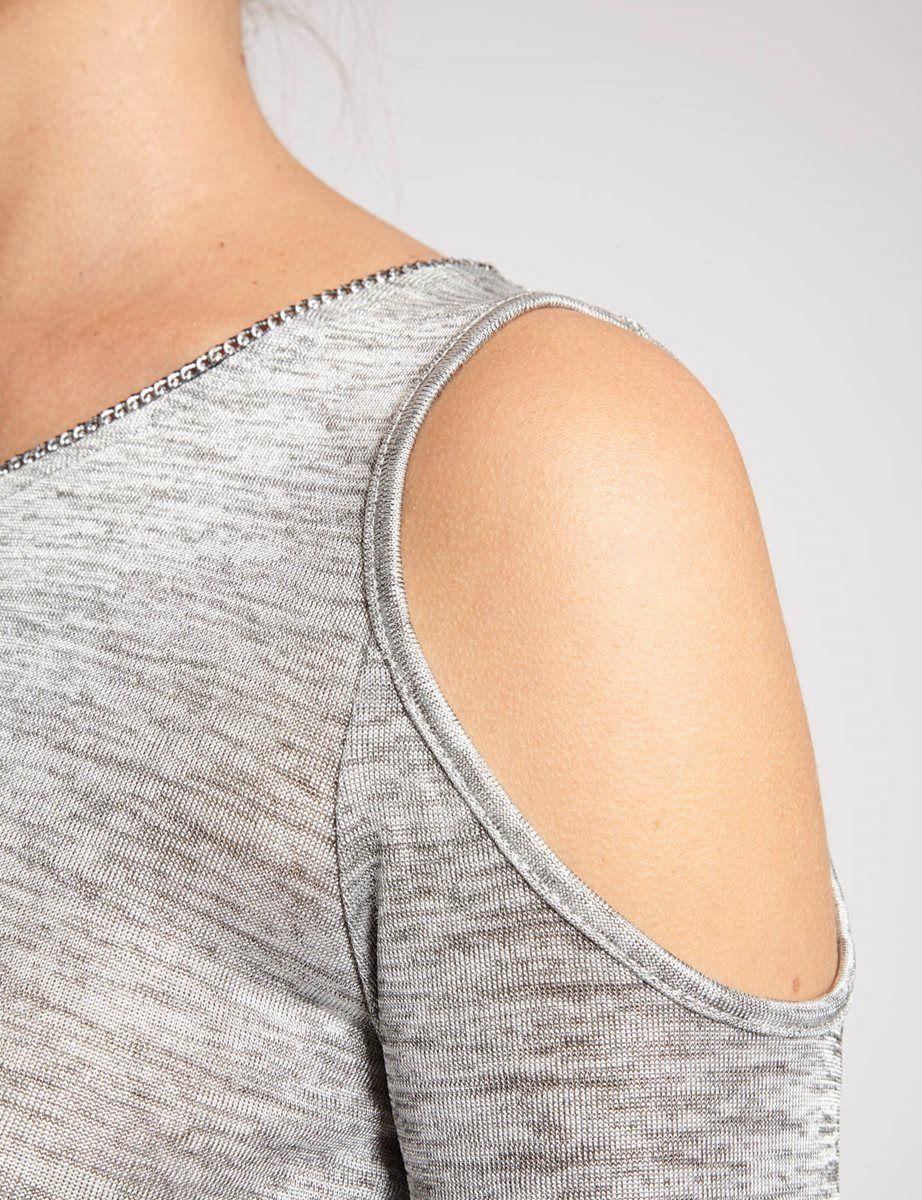 T-shirt coupe droite<br/>Col arrondi détail métallisé<br/>Manches courtes<br/>Epaules dénudées<br/>Maille moulinée bicolore<br/>Matière stretchCRLF Nom : 161-DCHOCO.P