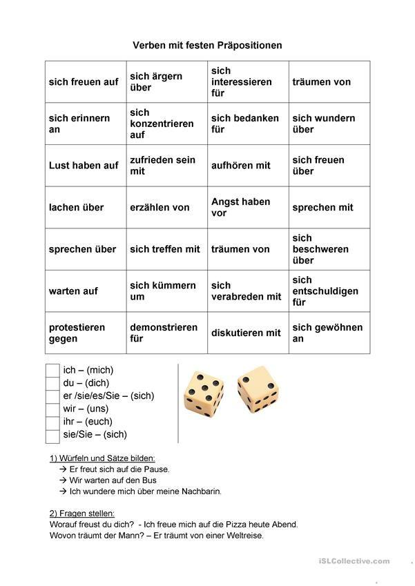Reflexive) Verben mit festen Präpositionen | Hallo, Kinder, wir ...