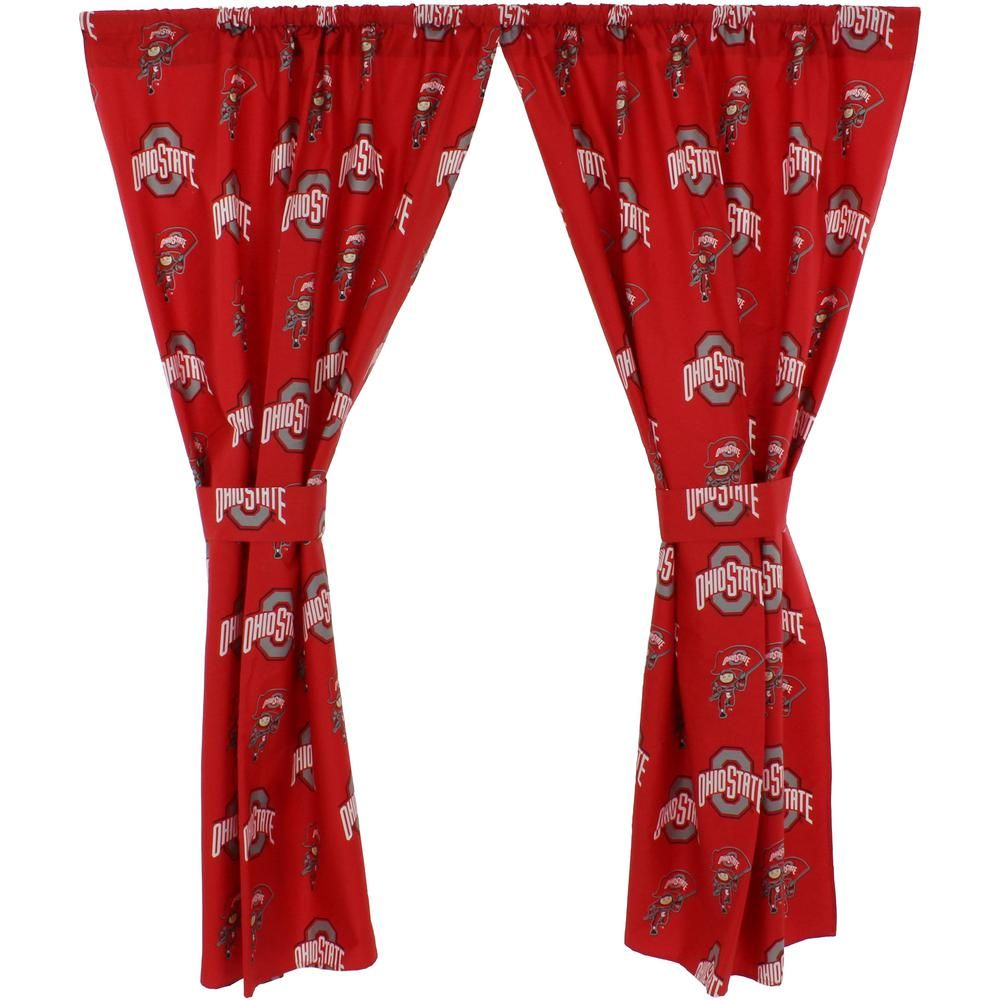 College Covers 42 In W X 84 In L Ohio State Buckeyes Cotton With Tie Back Curtain In Red 2 Panels Curtain Tie Backs Buckeyes Ohio State Buckeyes