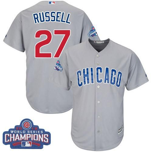 on sale 53d81 c9bea Cubs #27 Addison Russell Grey Road 2016 World Series ...