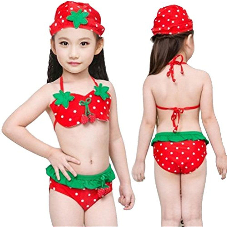 5c85a5bc78 Little Girls Kids Swimwear Swimsuit Bikini 3 Pieces Set Split Tankini  Bandeau Slim Fit Shorts Top Bottom Hat Set Bathing Beachwear Costume-Lovely  Sweet ...