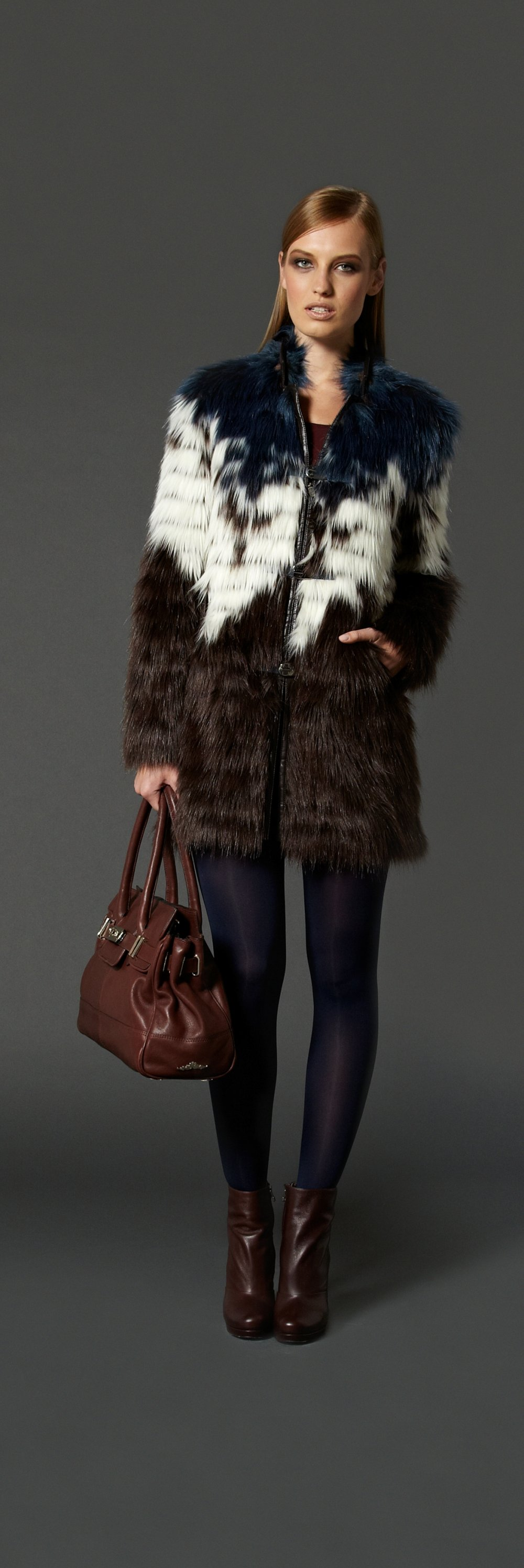 urbancode teal fun fur colour block faux fur coat http://www ...