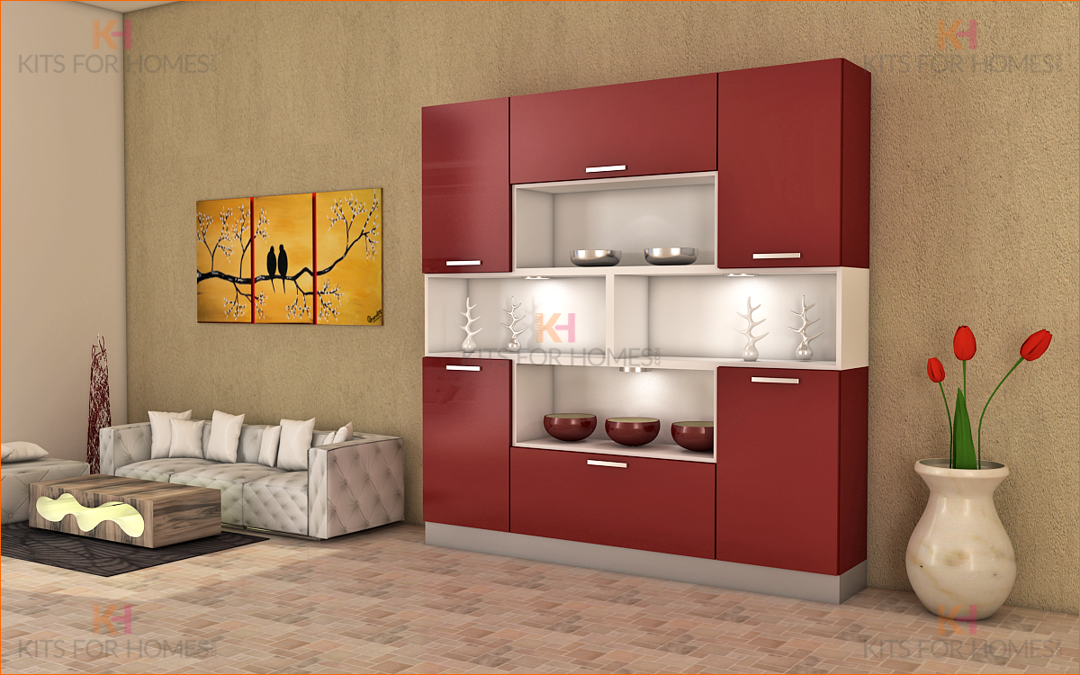 Crockery Unit In Mdf And Shutters In High Gloss Acrylic Finish Crockery Unit Crockery Unit Design Crockery Cabinet Design