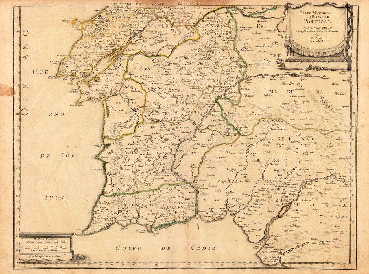 Parte Meridional Do Reyno De Portugal Por N. Sanson d' Abbeville Geographo ordinario del Rey Christianissimo 1654