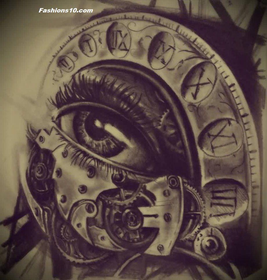 Eye And Multiple Clock Tattoo: Http://www.fashions10.com/15-wonderful