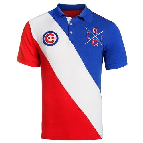 9972b545 Chicago Cubs KLEW MLB Diagonal Stripe Cotton Rugby Polo | Cubs Gear ...
