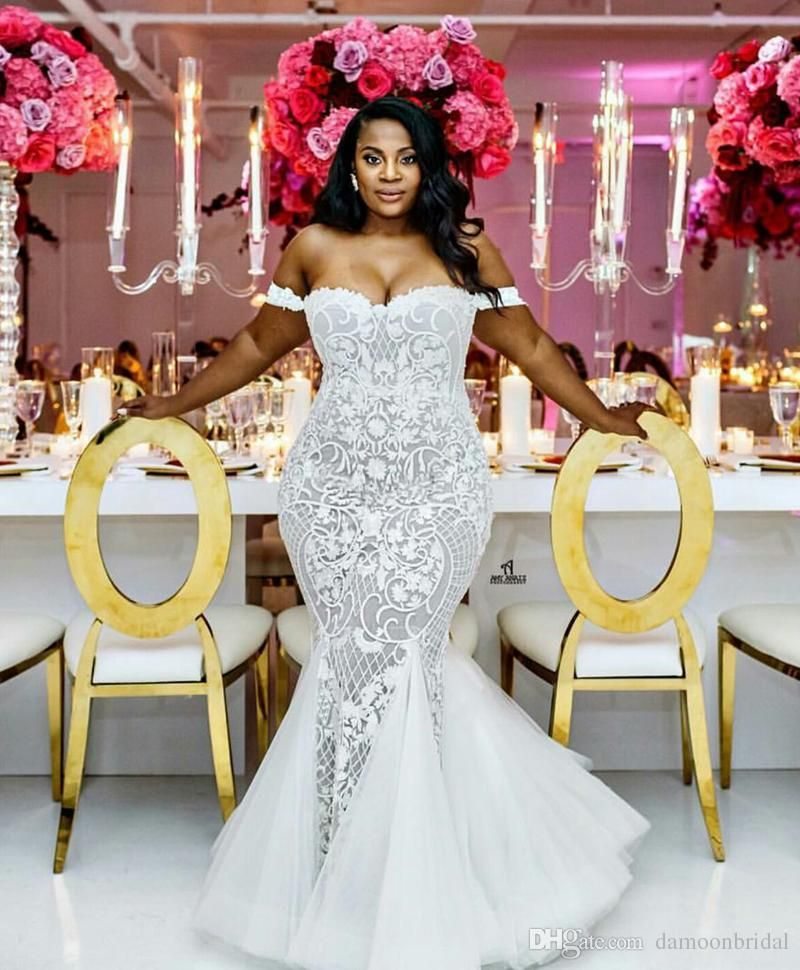 dc4aea5887e Stunning African Mermaid Plus Size Wedding Dresses Sexy Sweetheart Neck  Guipure Lace Tulle Skirts Bridal Dresses New Arrival Custom Made