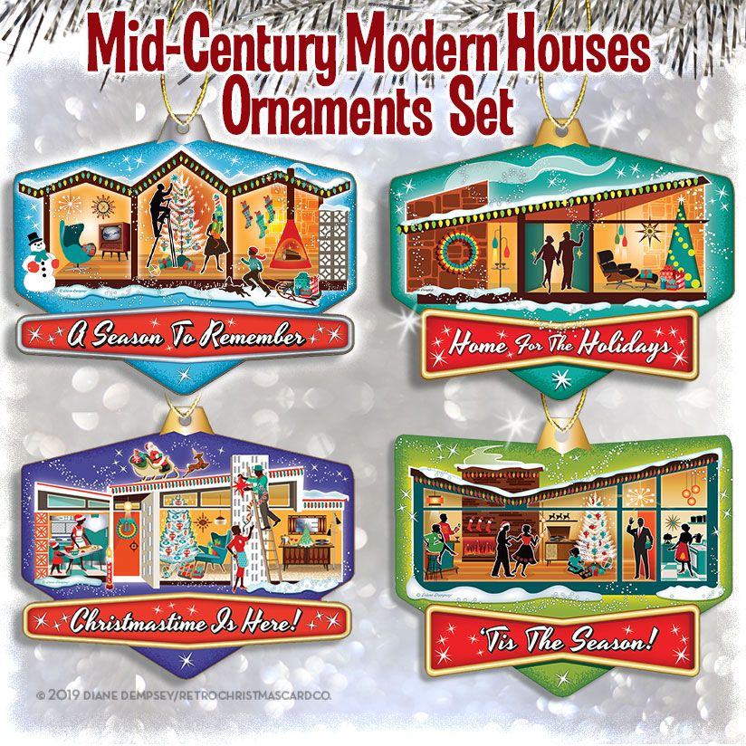 midcentury modern house christmas ornaments variety pack