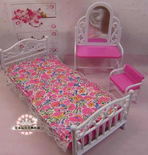 Barbie Size Dollhouse Furniture Living Room Dressing Table Chair Bed ...