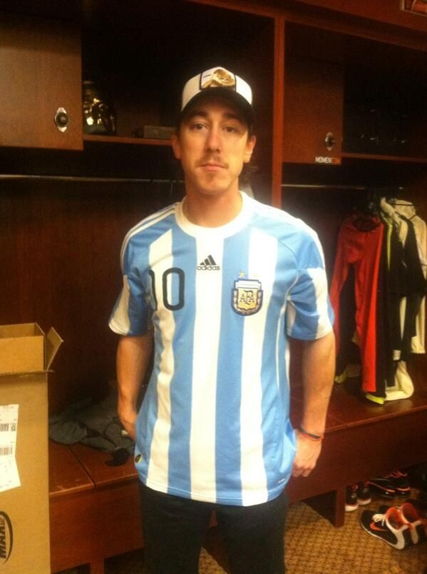 "Tim Lincecum wearing Lionel Messi's  Argentina NT shirt. ""La Albiceleste"" is Timmy's favorite team at the World Cup #Brazil2014"