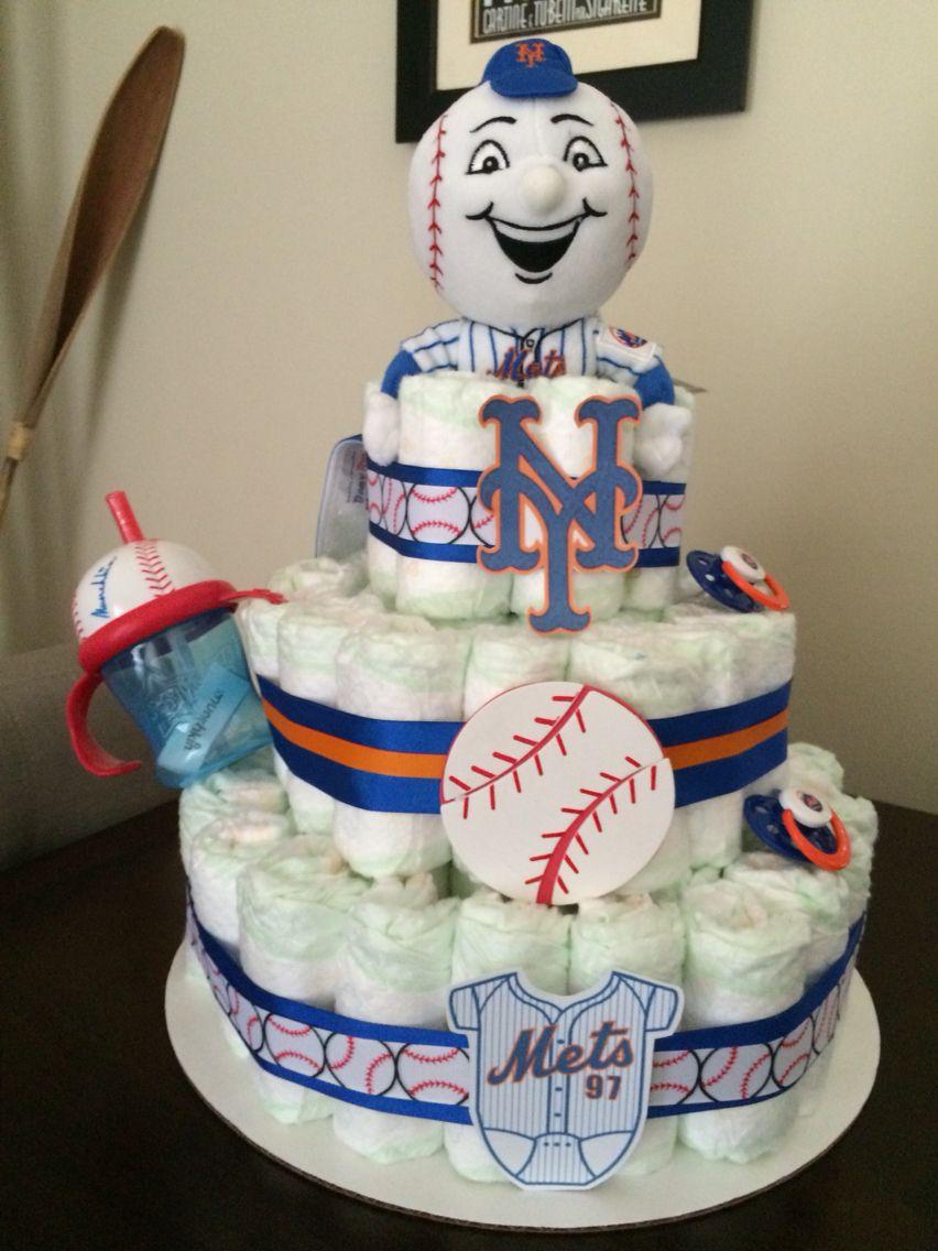 NY Mets Diaper Cake