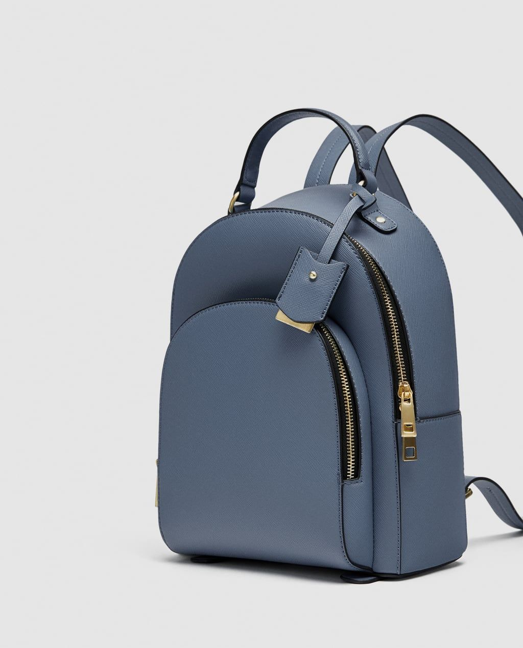 Blue Backpack with Gold Zippers from Zara  b7d6d019f1a