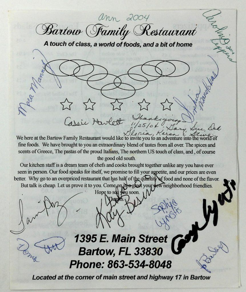 2004 Original Signed Menu BARTOW FAMILY RESTAURANT Bartow