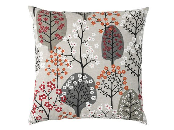 Contemporary Scandinavian Cushion Made From Spira Of Sweden Fabric Haga Khaki Grey Background An Orange Cushions Scandinavian Cushions Scandinavian Pillows