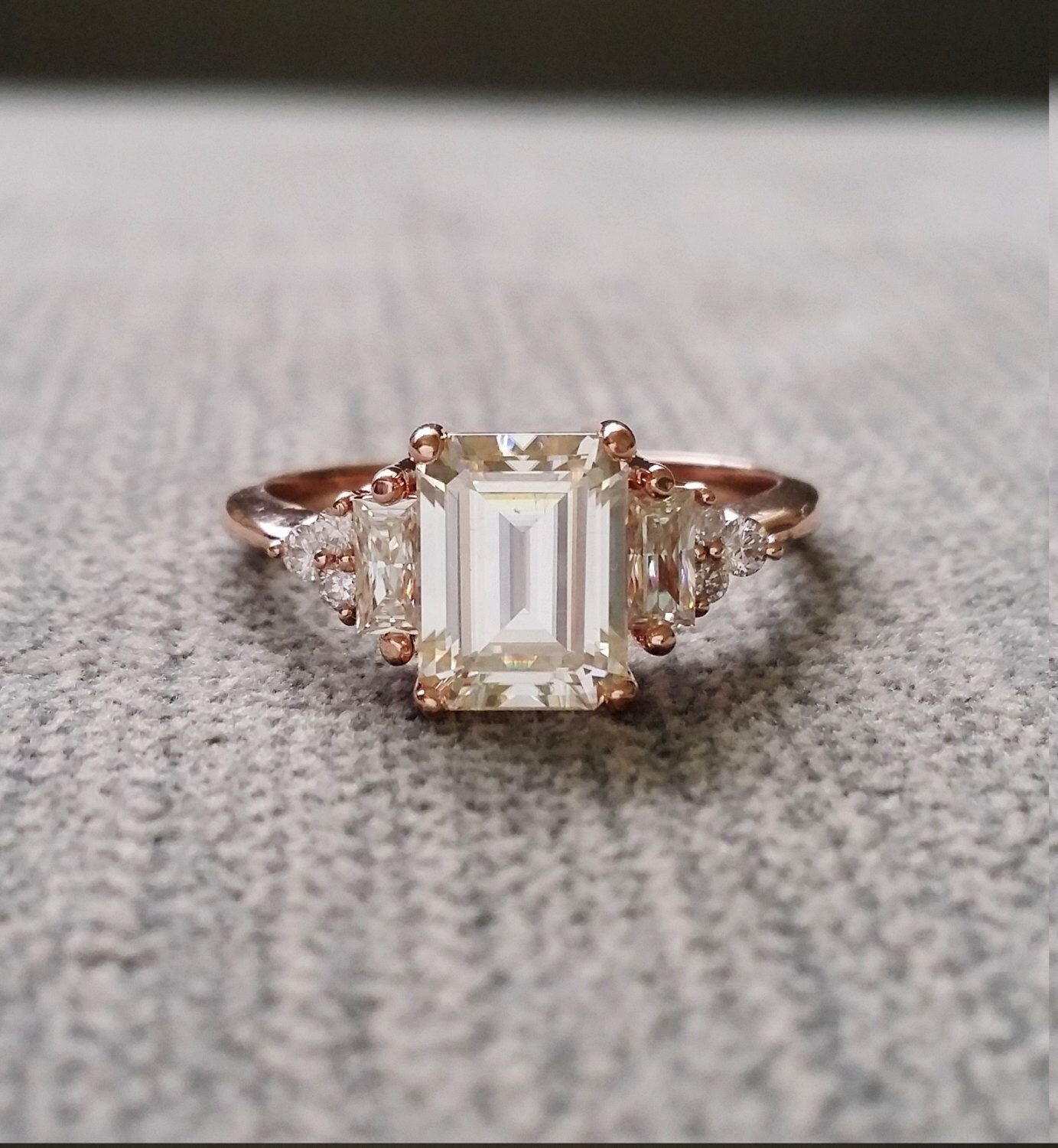 Antique Moissanite And Diamond Engagement Ring Emerald Cut Baguette Flower  Classic Rose Gold Timeless Penellibelle Exclusive