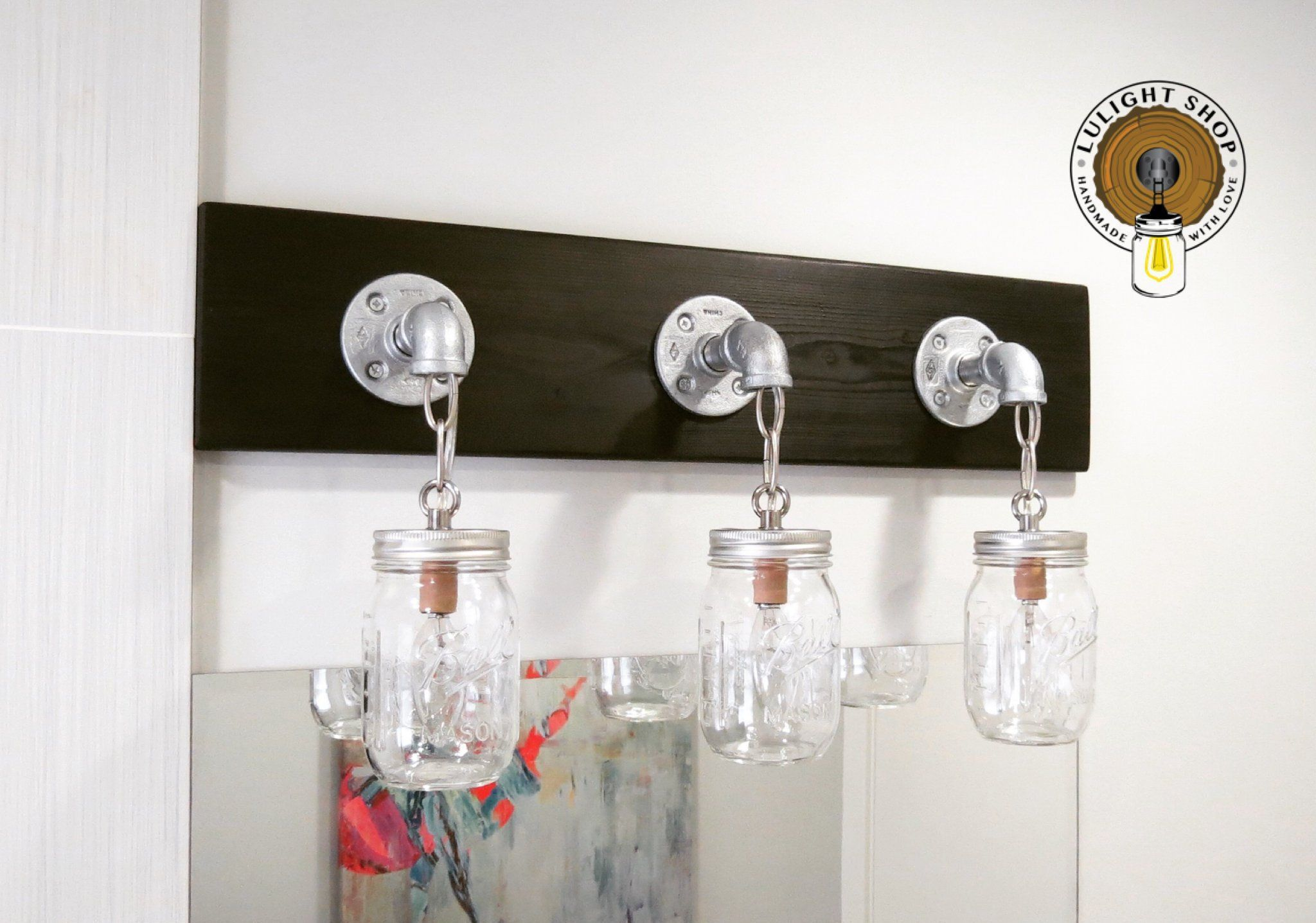 Photo of BLACK Vanity Light Fixture/Rustic Light for Bathroom/Farmhouse Lighting/Mason Jar Fixture/Mod…