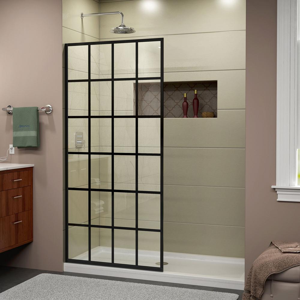 Dreamline Linea 34 In X 72 In Frameless Fixed Shower Door In French Black Shdr 3234721 89 The Home D Frameless Shower Doors Shower Doors Black Shower Doors