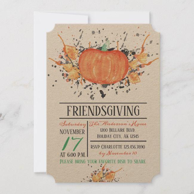 Watercolor Pumpkin Friendsgiving Invitation