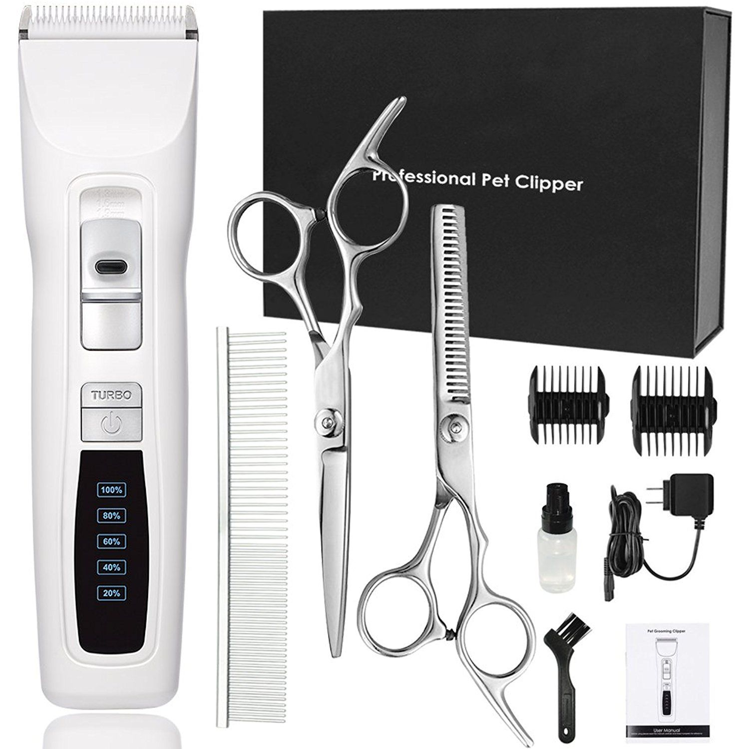 Dog Clippers Professional Heavy Duty 2 Speed Turbo Dog Grooming Clippers Kit For Thick Coats White Pet Dog Grooming Clippers Dog Clippers Dog Grooming Supplies