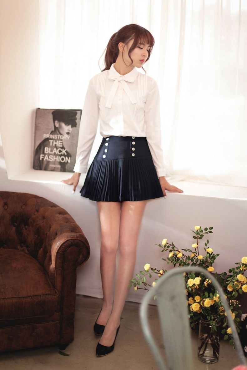 Korean fashionujapanese longsleeved crimp slim bow shirt cute