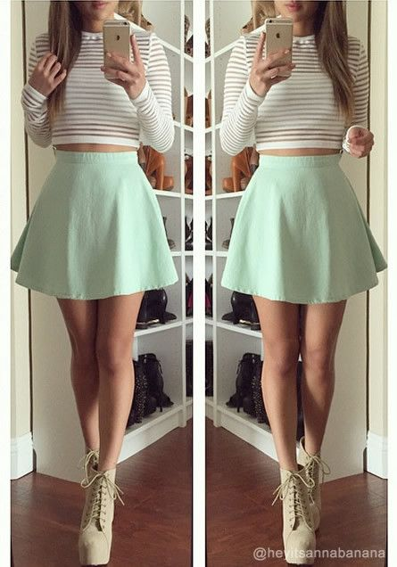 6a5cdcaab1f35e Sexy and adorable with this striped cropped top with mint short skirt.
