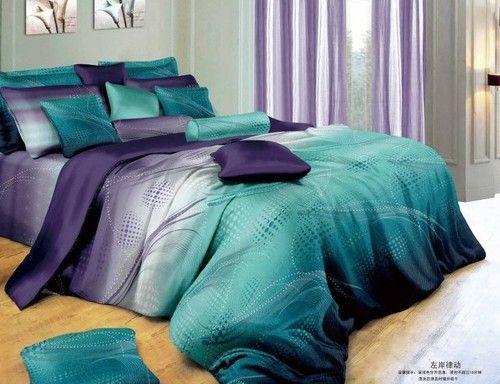 Best Purple Blue Gray Plaid Flower Cotton King Queen Size Duvet 400 x 300