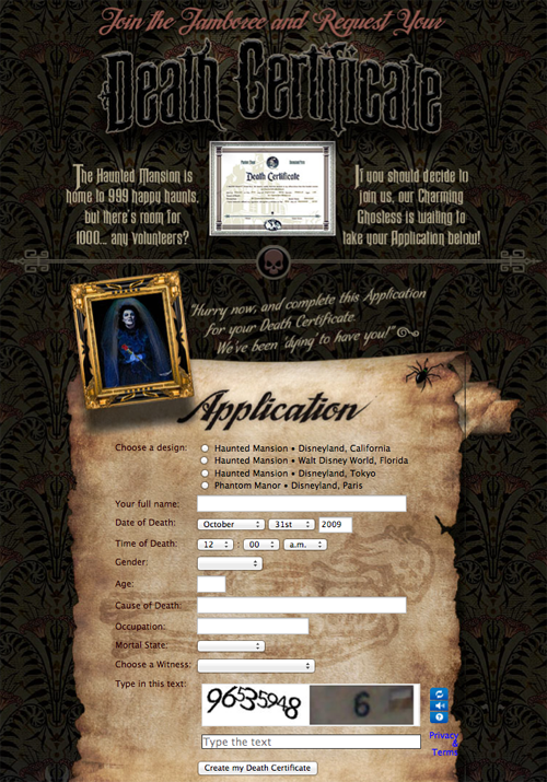 Create Your Own Haunted Mansion Death Certificate Death