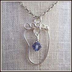 Baby Foot Pendant Necklace Wire Wrapped in Silver, Crystal Birthstones. I want this!