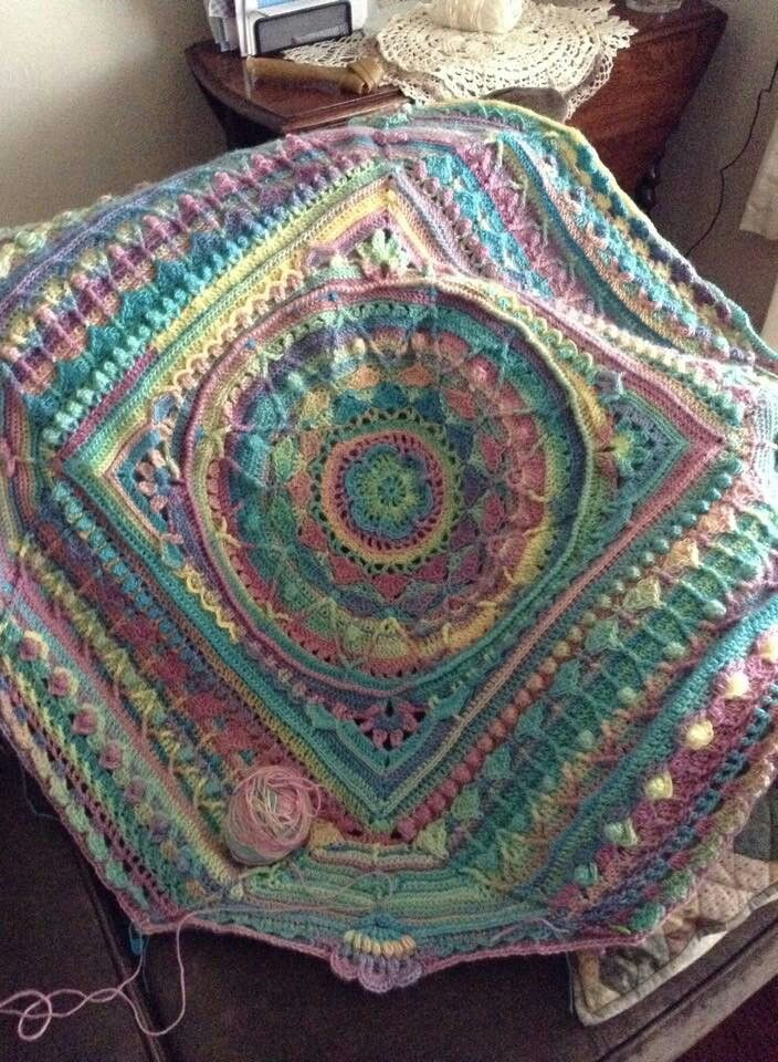 Sophie With Self Striping Yarn Crochet Mandala Pattern Crochet Mandala Crochet Quilt