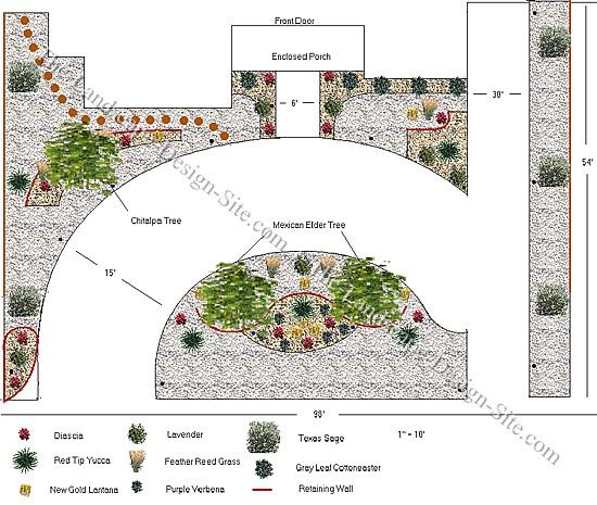 Circular driveway on a hillside this plan is a xeriscape for Circular driveway layout