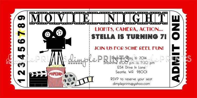 Movie Ticket Printable Birthday Invitation Dimple Prints Shop Movie Party Invitations Movie Ticket Invitations Party Invite Template