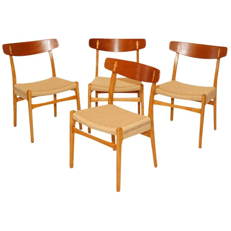 Set Of 4 Hans Wegner Ch 23 Dining Chairs In 2020 Dining Chairs
