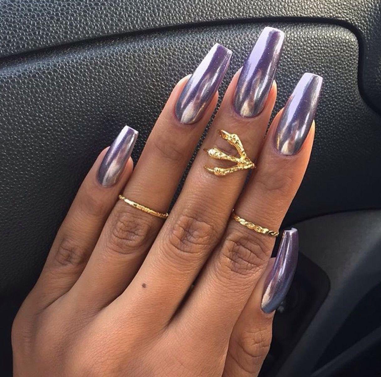 Purple Chrome Nails A Must