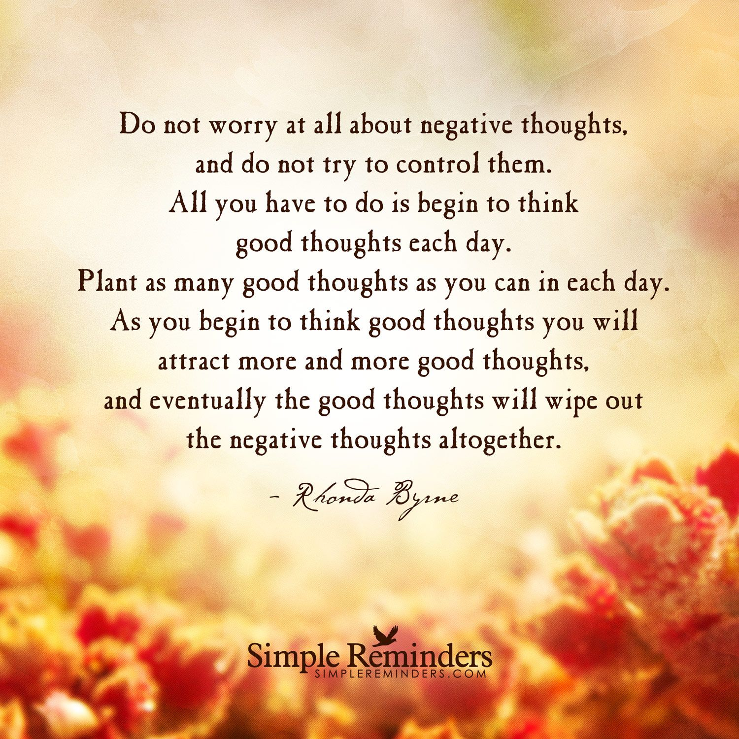 Rhonda Byrne Do Not Worry At All About Negative Thoughts