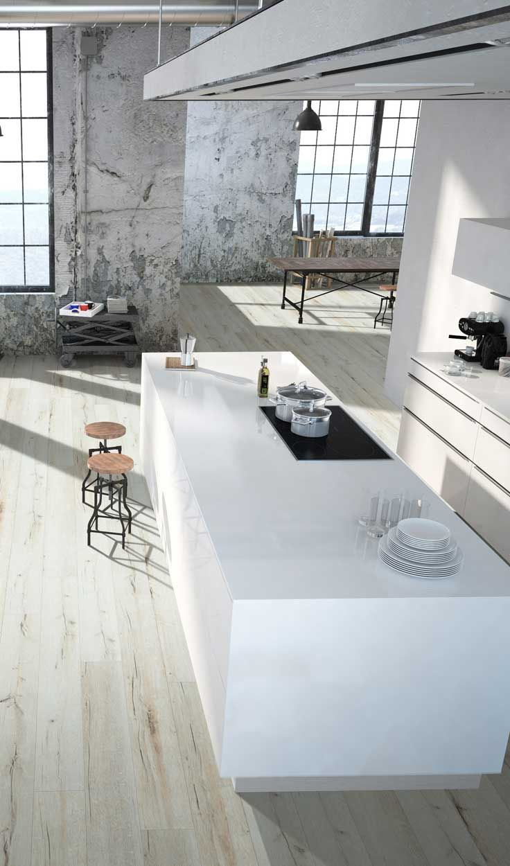 Küchendesign rustikal modern studio kitchen urban interior design flooring by beaulieu